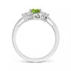 Toggle Oval Peridot Bypass Ring with Trio Diamond Accents