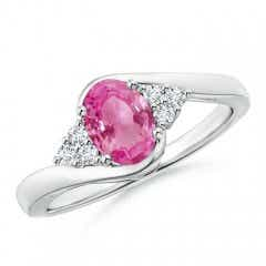 Oval Pink Sapphire Bypass Ring with Trio Diamond Accents