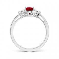 Toggle Oval Ruby Bypass Ring with Trio Diamond Accents