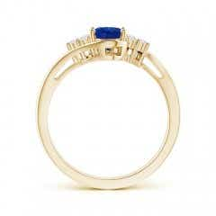 Toggle Oval Sapphire Bypass Ring with Trio Diamond Accents