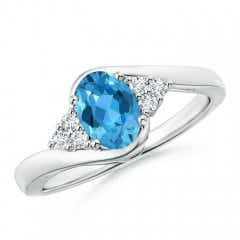 Oval Swiss Blue Topaz Bypass Ring with Trio Diamond Accents