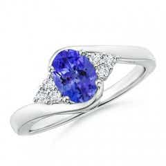 Oval Tanzanite Bypass Ring with Trio Diamond Accents