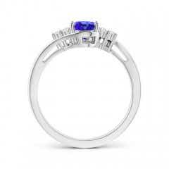Toggle Oval Tanzanite Bypass Ring with Trio Diamond Accents