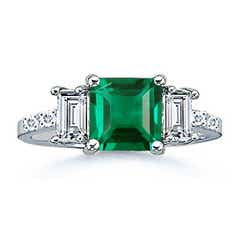3 Stone Lab Square Emerald and Baguette Diamond Ring