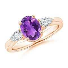 Oval Amethyst Three Stone Ring with Pear Diamonds