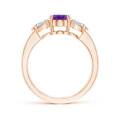 Toggle Oval Amethyst Three Stone Ring with Pear Diamonds