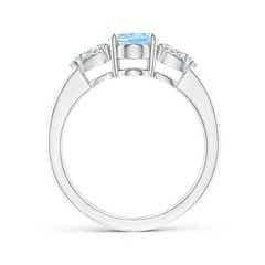 Toggle Oval Aquamarine Three Stone Ring with Pear Diamonds