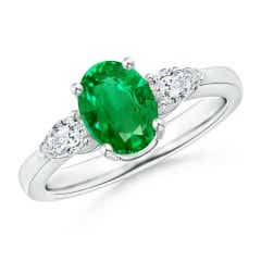 Oval Emerald Three Stone Ring with Pear Diamonds