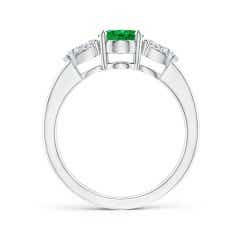 Toggle Oval Emerald Three Stone Ring with Pear Diamonds