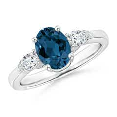 Oval London Blue Topaz Three Stone Ring with Pear Diamonds