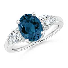 Oval London Blue Topaz and Diamond Three Stone Ring
