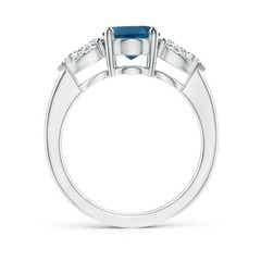 Toggle Oval London Blue Topaz Three Stone Ring with Pear Diamonds