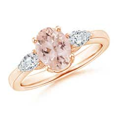 Oval Morganite Three Stone Ring with Pear Diamonds