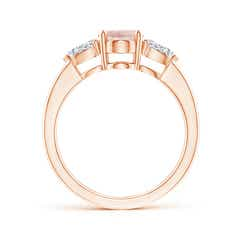 Toggle Oval Morganite Three Stone Ring with Pear Diamonds
