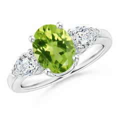 Four Prong Three Stone Oval Peridot and Diamond Ring