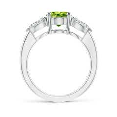 Toggle Oval Peridot Three Stone Ring with Pear Diamonds
