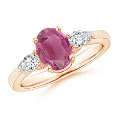 Four Prong Three Stone Oval Pink Tourmaline and Diamond Ring