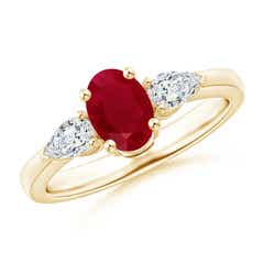Oval Ruby Three Stone Ring with Pear Diamonds