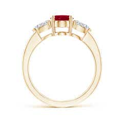 Toggle Oval Ruby Three Stone Ring with Pear Diamonds
