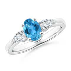 Prong-Set Oval Swiss Blue Topaz and Diamond Three Stone Ring
