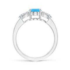 Toggle Oval Swiss Blue Topaz Three Stone Ring with Pear Diamonds