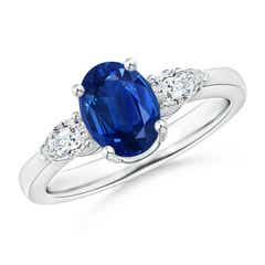4 Prong Three Stone Oval Blue Sapphire and Diamond Ring