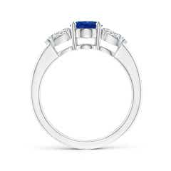 Toggle Oval Blue Sapphire Three Stone Ring with Pear Diamonds