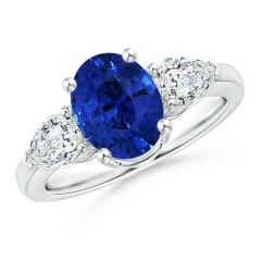 GIA Certified Sri Lankan Sapphire Ring with Pear Diamonds