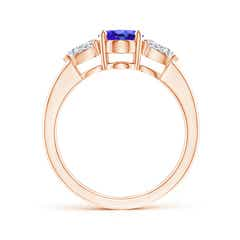 Toggle Oval Tanzanite Three Stone Ring with Pear Diamonds