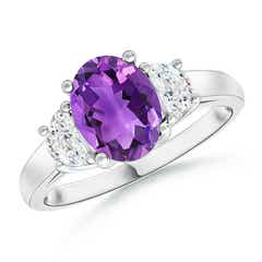 Three Stone Oval Amethyst and Half Moon Diamond Ring