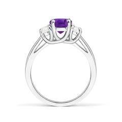Toggle Three Stone Oval Amethyst and Half Moon Diamond Ring