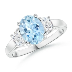Three Stone Oval Aquamarine and Half Moon Diamond Ring