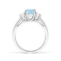 Toggle Three Stone Oval Aquamarine and Half Moon Diamond Ring