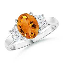 Angara Oval Citrine and Diamond Three Stone Ring in 14K White Gold Qw3ITAXML4