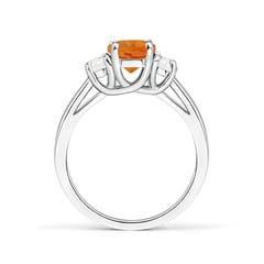 Toggle Three Stone Oval Citrine and Half Moon Diamond Ring