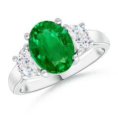 Three Stone Oval Emerald and Half Moon Diamond Ring