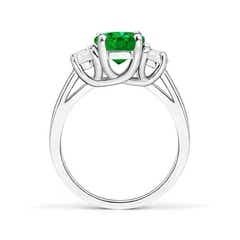 Toggle Three Stone Oval Emerald and Half Moon Diamond Ring
