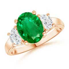 GIA Certified Oval Emerald Ring with Half Moon Diamonds