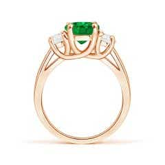 Toggle GIA Certified Oval Emerald Ring with Half Moon Diamonds