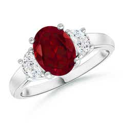 Three Stone Oval Garnet and Half Moon Diamond Ring