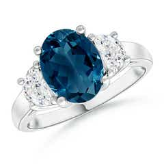 London Blue Topaz and Half Moon Diamond Three Stone Ring
