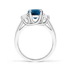 Toggle London Blue Topaz and Half Moon Diamond Three Stone Ring