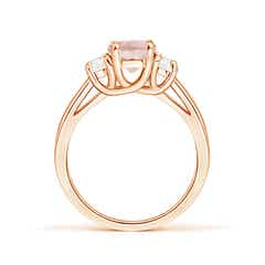 Toggle Three Stone Oval Morganite and Half Moon Diamond Ring