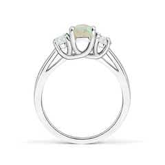Toggle Three Stone Oval Opal and Half Moon Diamond Ring