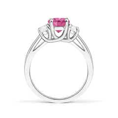 Toggle 3 Stone Oval Pink Sapphire and Half Moon Diamond Ring
