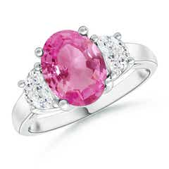 3 Stone Oval Pink Sapphire and Half Moon Diamond Ring