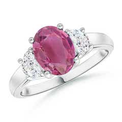 Three Stone Oval Pink Tourmaline and Half Moon Diamond Ring