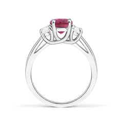 Toggle Three Stone Oval Pink Tourmaline and Half Moon Diamond Ring