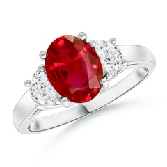 Three Stone Oval Ruby and Half Moon Diamond Ring