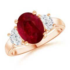 Angara GIA Certified Oval Ruby Compass Ring with Diamond Halo IagAEoHa